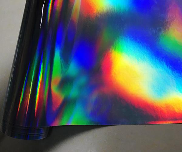 Black Iridescent Holographic Laser Cut Neon Chameleon